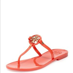 Tory Burch Mini Miller Orange Jelly Sandals